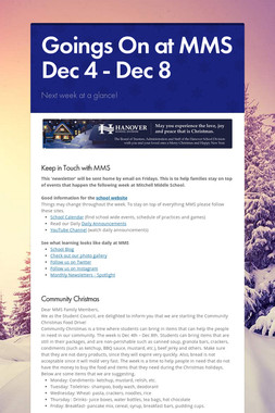 Goings On at MMS Dec 4 - Dec 8