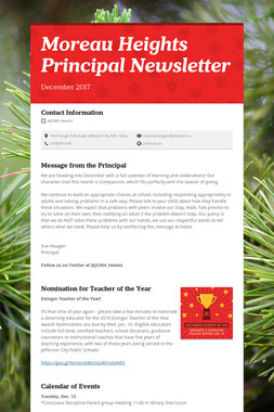 Moreau Heights Principal Newsletter