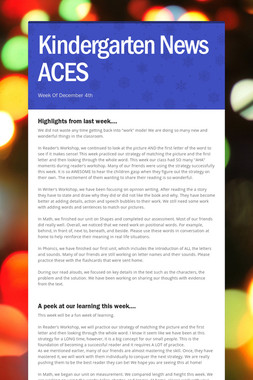 Kindergarten News ACES