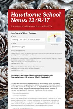 Hawthorne School News: 12/8/17