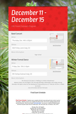 December 11 - December 15