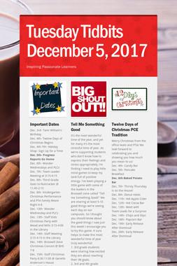 Tuesday Tidbits December 5, 2017