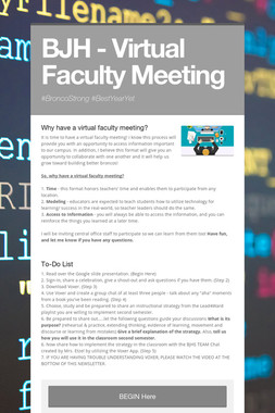 BJH - Virtual Faculty Meeting