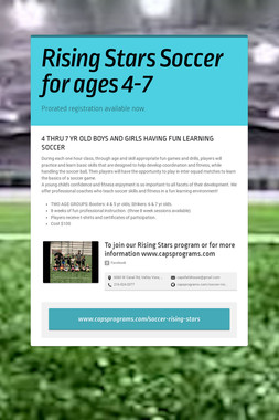 Rising Stars Soccer for ages 4-7