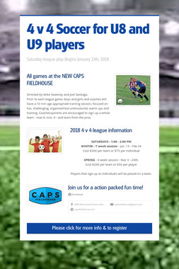 4 v 4 Soccer for U8 and U9 players