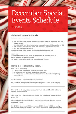 December Special Events Schedule