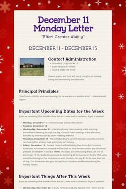 December 11 Monday Letter