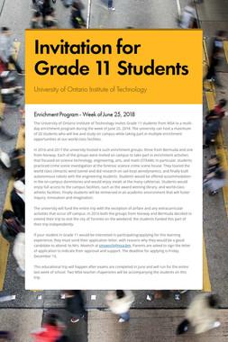 Invitation for Grade 11 Students
