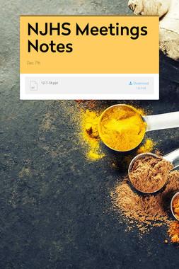 NJHS Meetings Notes
