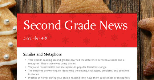 Second Grade News | Smore Newsletters