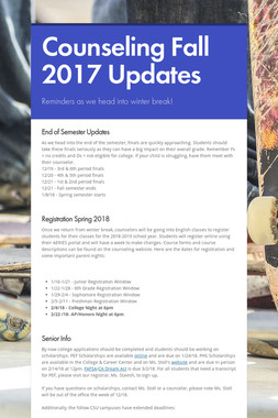 Counseling Fall 2017 Updates