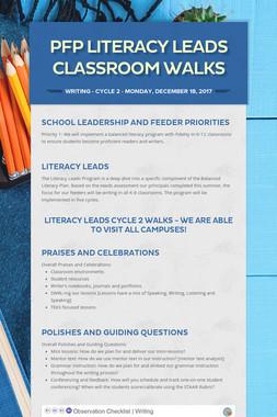 PFP Literacy Leads Classroom Walks