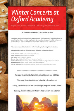 Winter Concerts at Oxford Academy