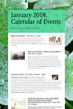 January 2018, Calendar of Events