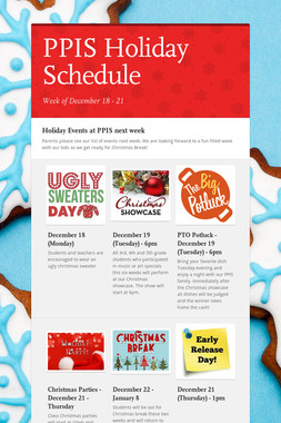 PPIS Holiday Schedule