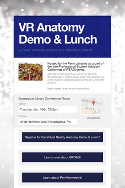 VR Anatomy Demo & Lunch