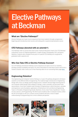 Elective Pathways at Beckman