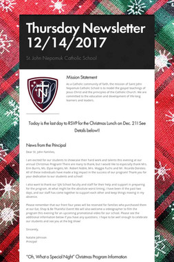 Thursday Newsletter 12/14/2017