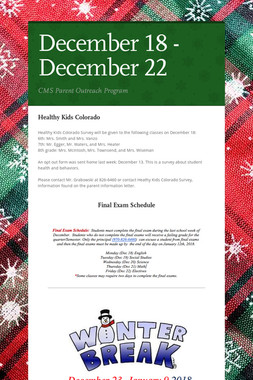 December 18 - December 22