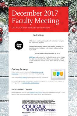 December 2017 Faculty Meeting