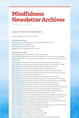 Mindfulness Newsletter Archives