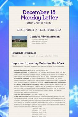 December 18 Monday Letter
