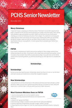 PCHS Senior Newsletter