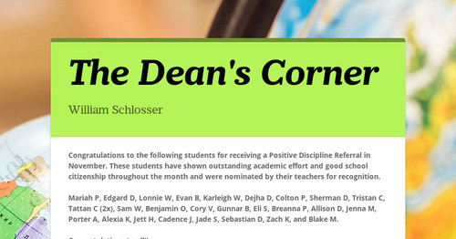 The Dean's Corner | Smore Newsletters for Education