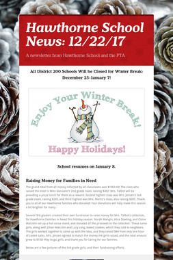 Hawthorne School News: 12/22/17