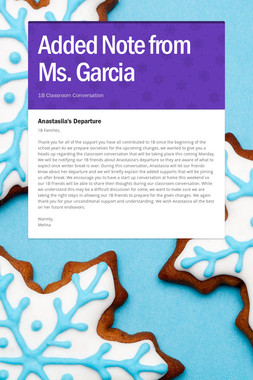 Added Note from Ms. Garcia
