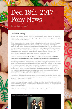 Dec. 18th, 2017 Pony News