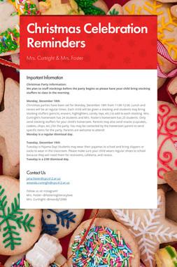 Christmas Celebration Reminders