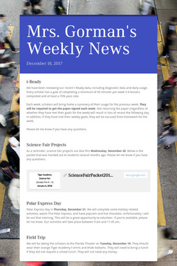 Mrs. Gorman's Weekly News