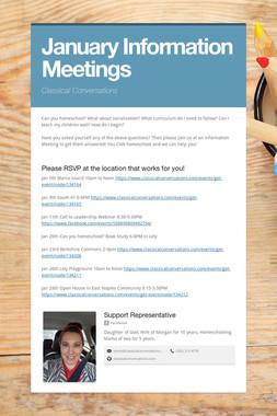 January Information Meetings