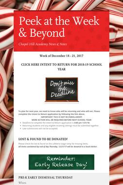 Peek at the Week & Beyond