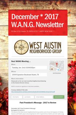 December * 2017 W.A.N.G. Newsletter