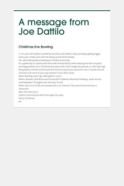 A message from Joe Dattilo