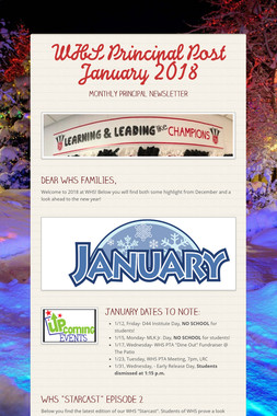 WHS Principal Post  January 2018