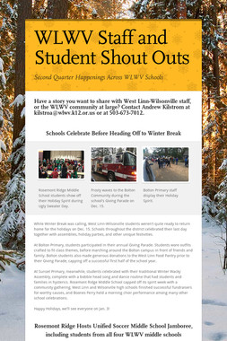WLWV Staff and Student Shout Outs