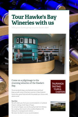 Tour Hawke's Bay Wineries with us