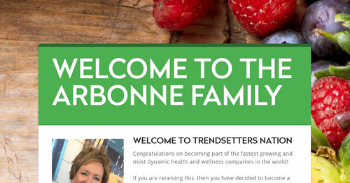WELCOME TO THE ARBONNE FAMILY