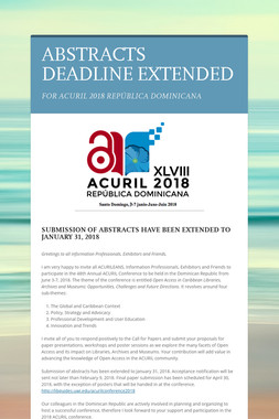 ABSTRACTS DEADLINE EXTENDED