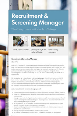 Recruitment & Screening Manager