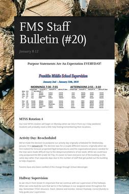 FMS Staff Bulletin (#20)