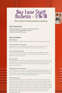 Bay Lane Staff Bulletin - 1/16/18