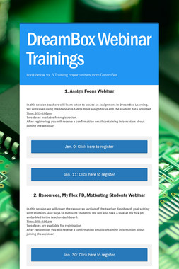DreamBox Webinar Trainings