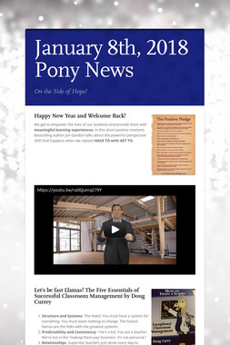 January 8th, 2018 Pony News