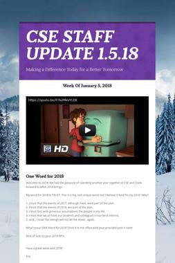 CSE STAFF UPDATE 1.5.18