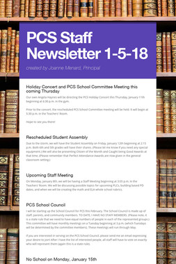 PCS Staff Newsletter 1-5-18