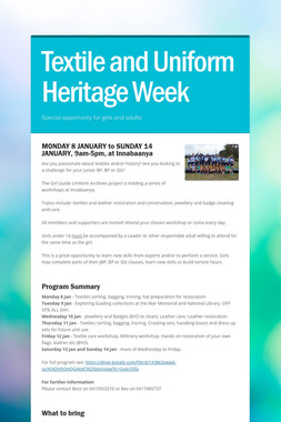Textile and Uniform Heritage Week